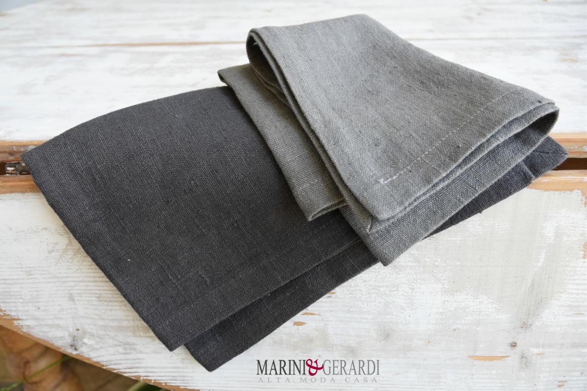 tessuto lino grezzo pesante per tovaglie tovaglioli cenere antracite | Tessuti per Interni