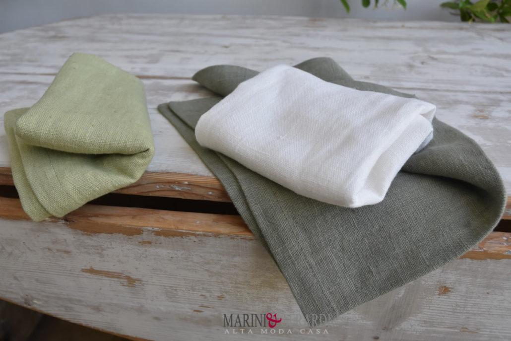 tessuto lino pesante per tovaglie tovaglioli pistacchio panna verde